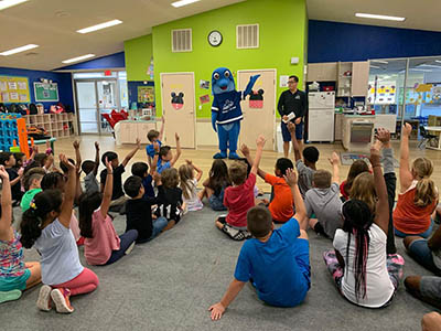 Mr Joe of Sugar Land and our very own Howey discussed water safety with local students.