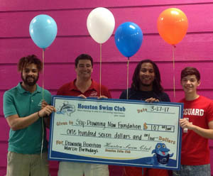 In March, Houston Swim Club donated $305 to the Stop Drowning Now foundation.
