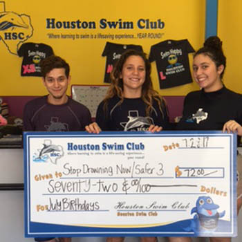 HSC donated $276 in the month of July to Stop Drowning Now!